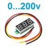 Вольтметр мини 0-200V три провода синий